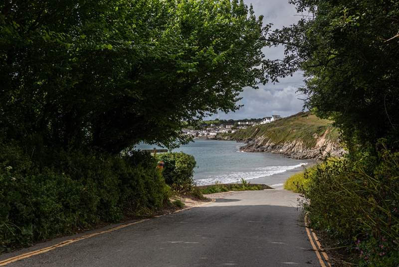 Porthcurnick beach is at the bottom of the lane.