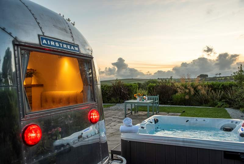 An Airstream with a view (and a hot tub!).