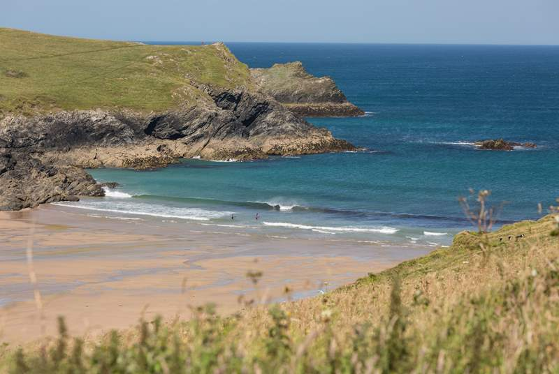 Crantock beach is a short walk away