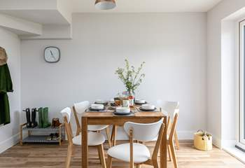 The open plan dining area is light and bright.