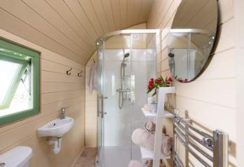 The en suite shower-room with heated towel rail.
