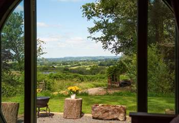 Looking straight out the double doors across miles and miles of glorious countryside.