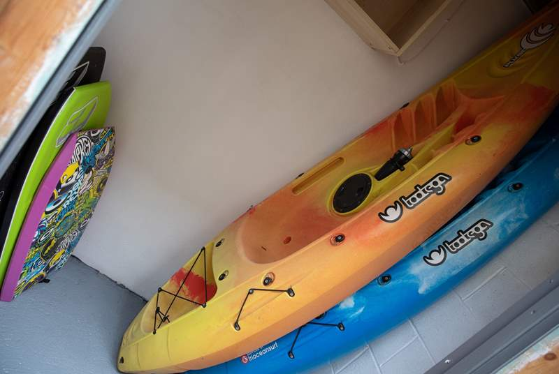 Body boards and kayaks are available for your use at anytime.