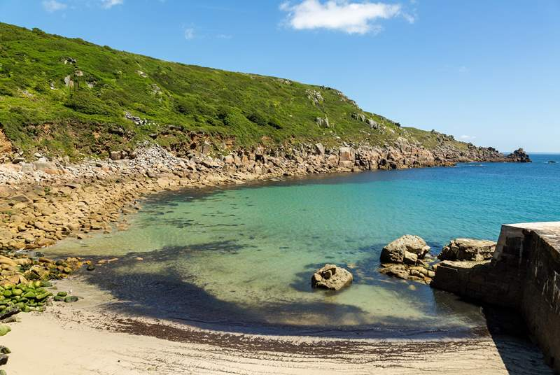 Take a trip down to Lamorna Cove, a lovely little sheltered cove near Mousehole.