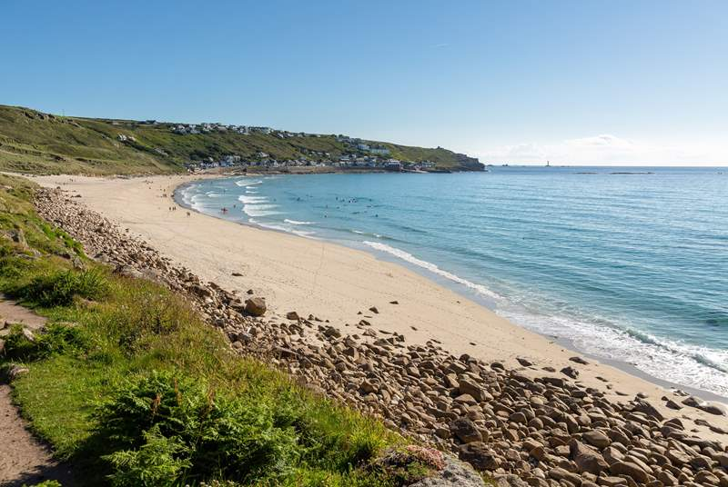 Sennen beach, perfect for winter walks and sunny strolls.