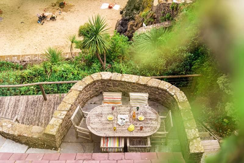 Lower terrace leading onto Castle Beach.