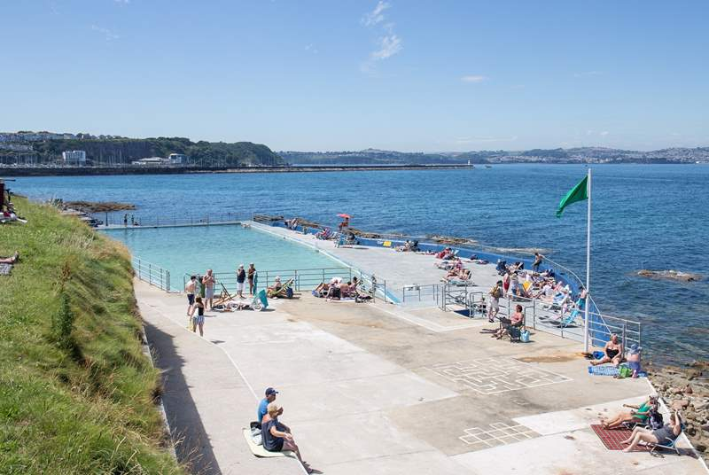 The fabulous open-air sea-water swimming pool is always a treat for both young and old.