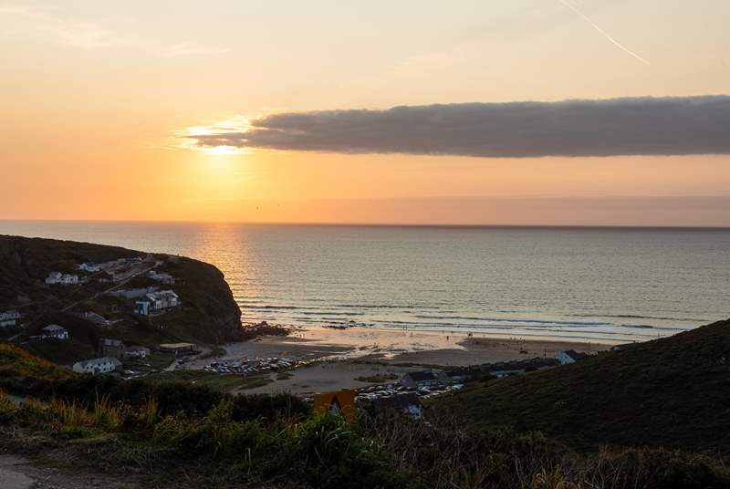 Sunset over Porthtowan Beach.