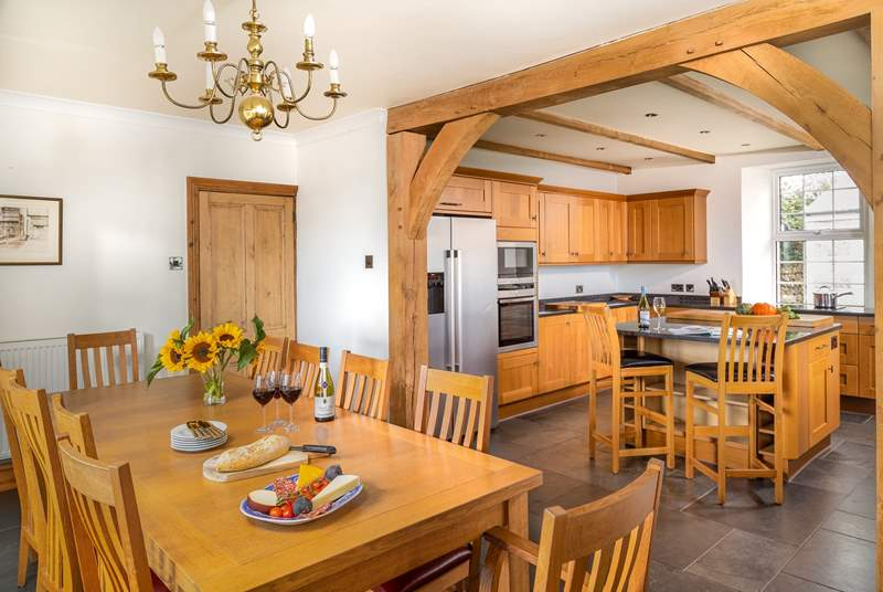 A fabulous kitchen/ diner is great for  a family gathering.