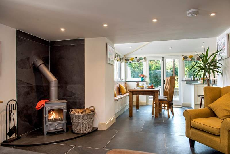 The wood-burner makes this a great retreat all year round.