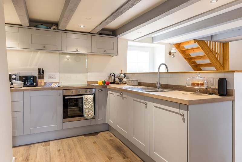 The fabulous Shaker-style kitchen.