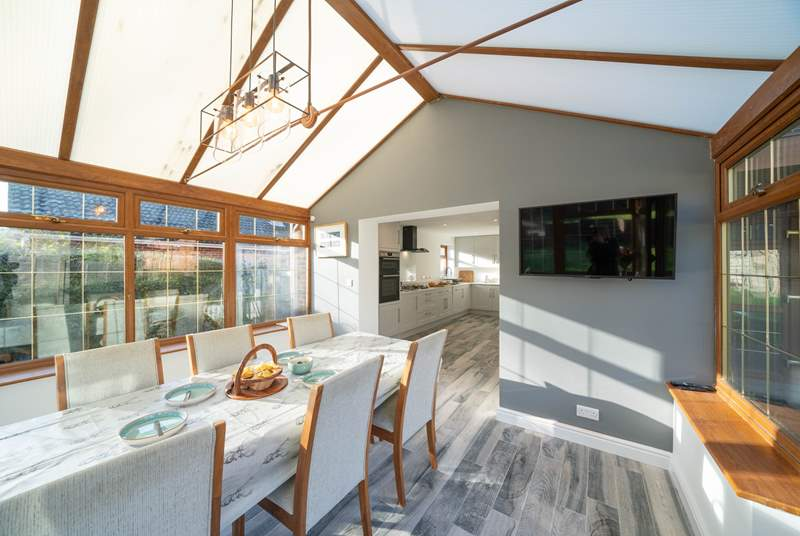 The spacious kitchen/diner, overlooking the garden, is a real sun-trap.