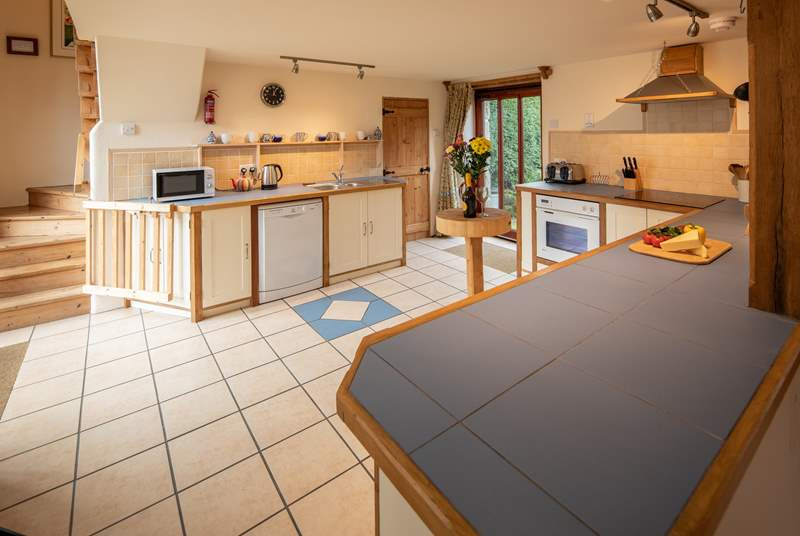 The large, light and airy kitchen.