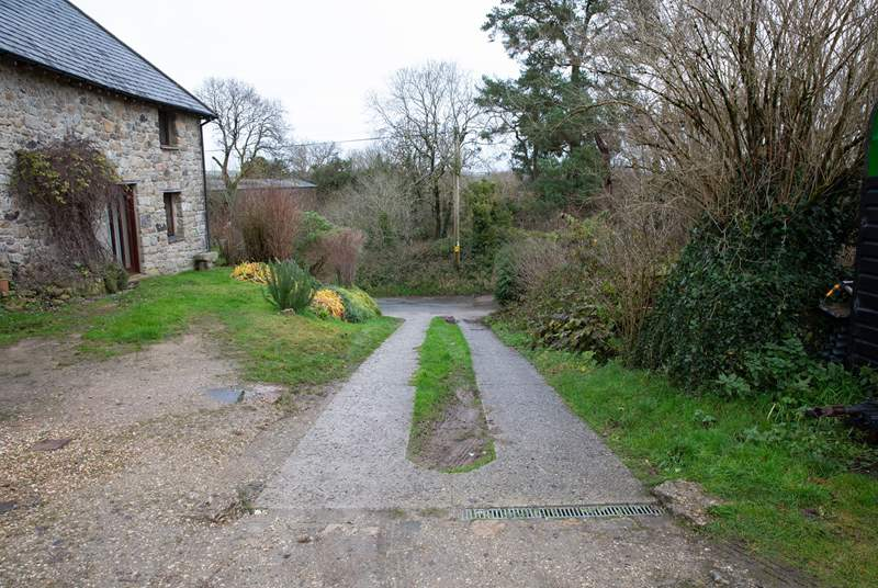 The sloping driveway. Please tread carefully.