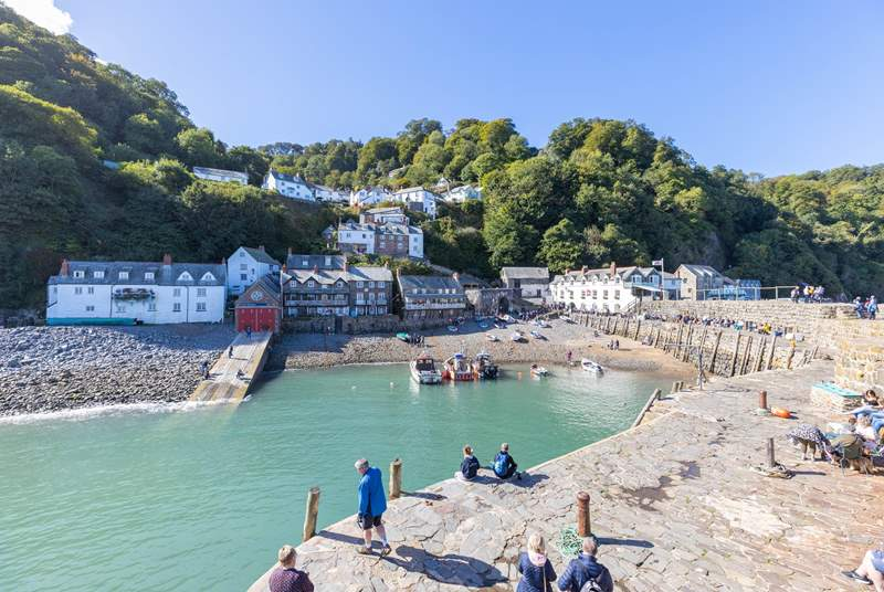 The view of Clovelly village from the harbour wall.