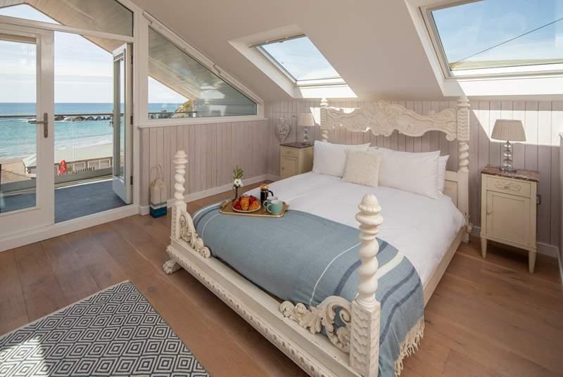 Bedroom three has fabulous sea views.