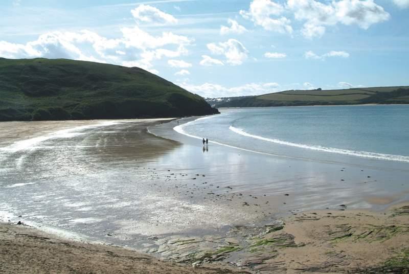 Enjoy the golden sands at Daymer Bay.