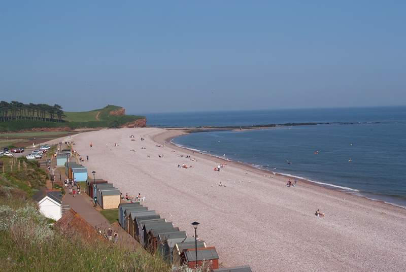 The popular pebble beach at Budleigh Salterton.