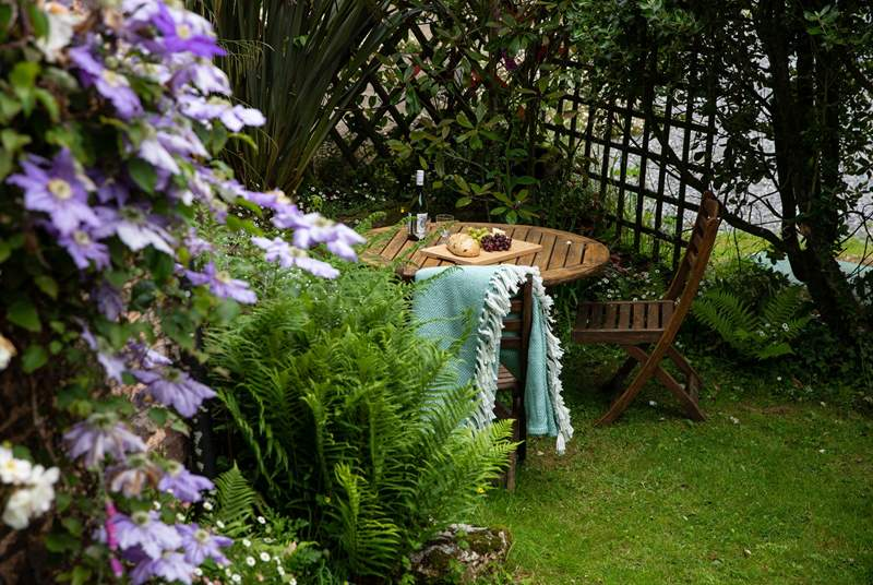 Enjoying a spot of dining al fresco is a real treat in this secluded spot.