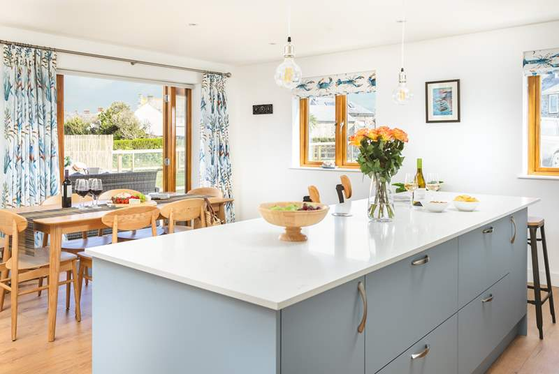 The open plan kitchen/diner provides a social living space to hang out in.