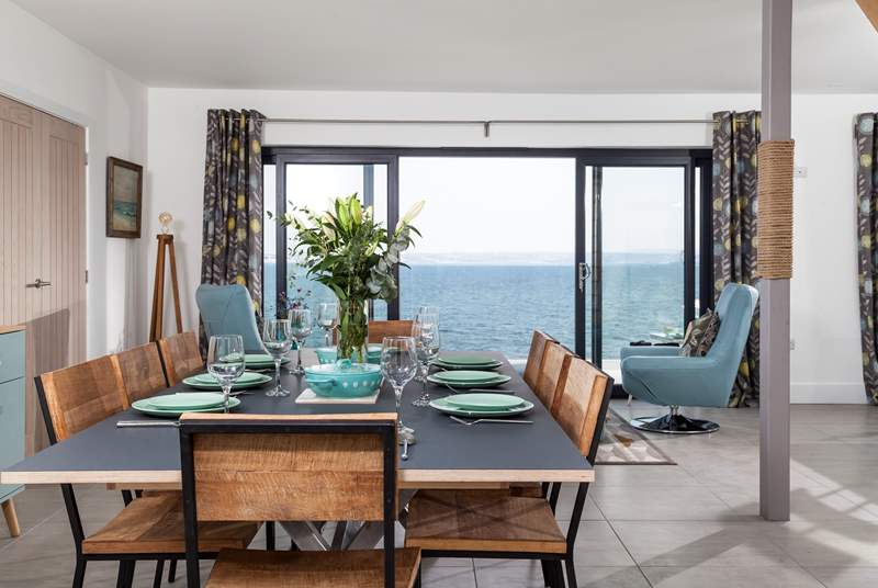 The large dining space that can easily accommodate up eight guests. Sit down for a long lazy lunch whilst the room is bathed in Cornish sun.
