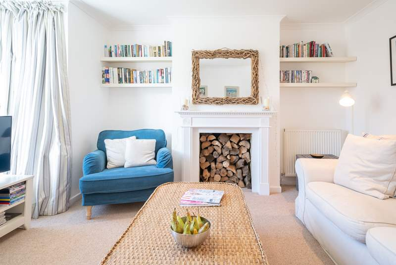 The stylish sitting-room to the front of the house.