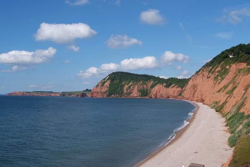 The World Heritage Jurassic Coast starts in east Devon - this is the beach at the western end of Sidmouth, sand at low tide.