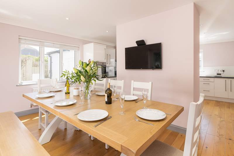 The dining-area is light and bright and perfect for socialising.