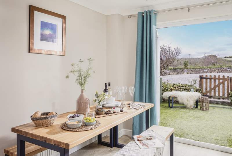 French doors can be opened wide on balmy summer evenings if you fancy a spot of al fresco dining in the sunshine.