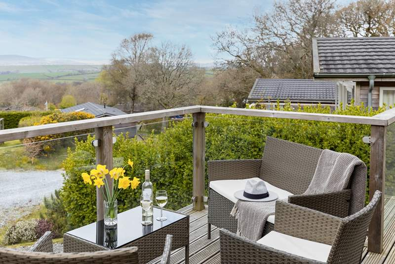 The decking area enjoys spectacular views of Dartmoor.