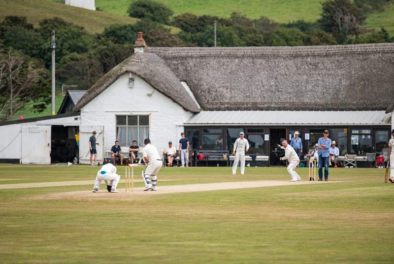 A match at the local cricket club in full swing.