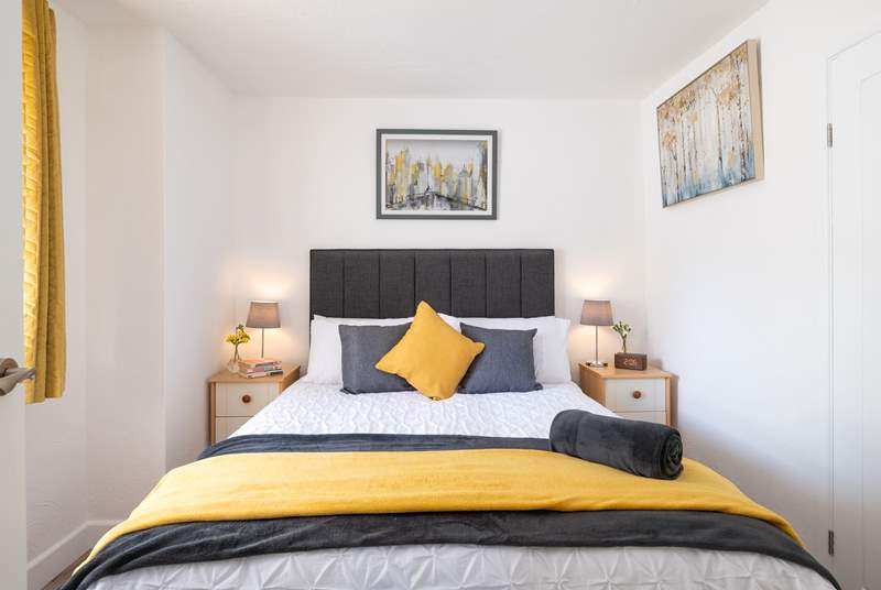 Stylish Bedroom one with a double bed.