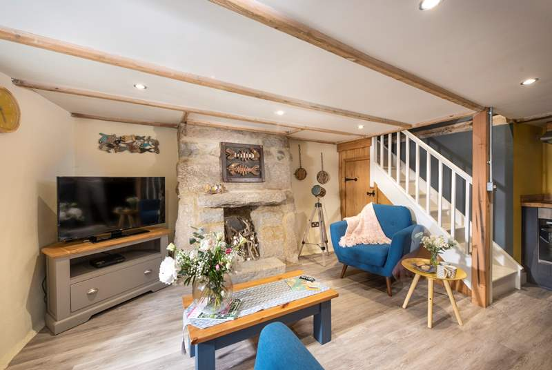 The cosy open plan living and dining area.