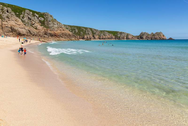 Spend the day at the beach, Porthcurno is a short drive away and positively tropical looking on a summer day.