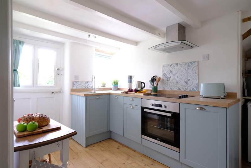 Small but perfectly formed, the kitchen has all you'll need.