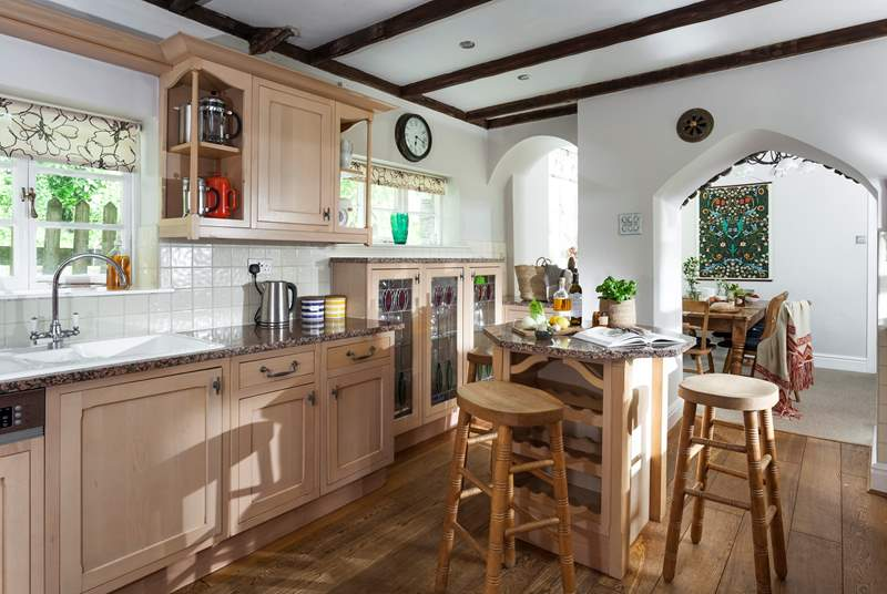 The well-equipped kitchen, supplied with a dishwasher and plenty of glasses to celebrate any occasion.