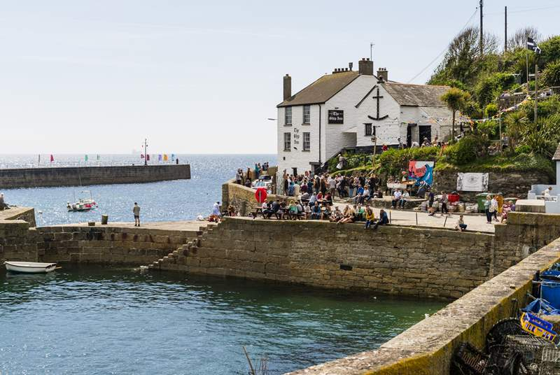 The Ship Inn sits proudly at the harbour entrance in Porthleven, just a short drive away.