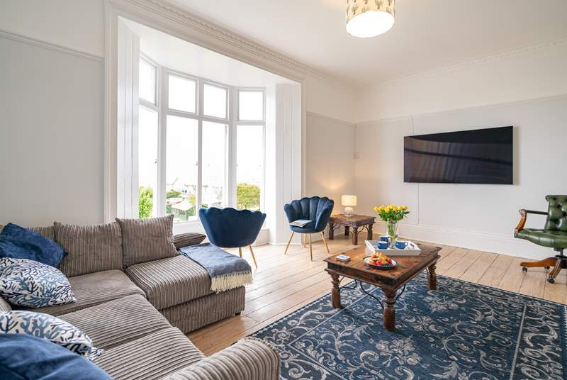 The sitting-room on the first floor,  beautiful décor and stunning sea views.