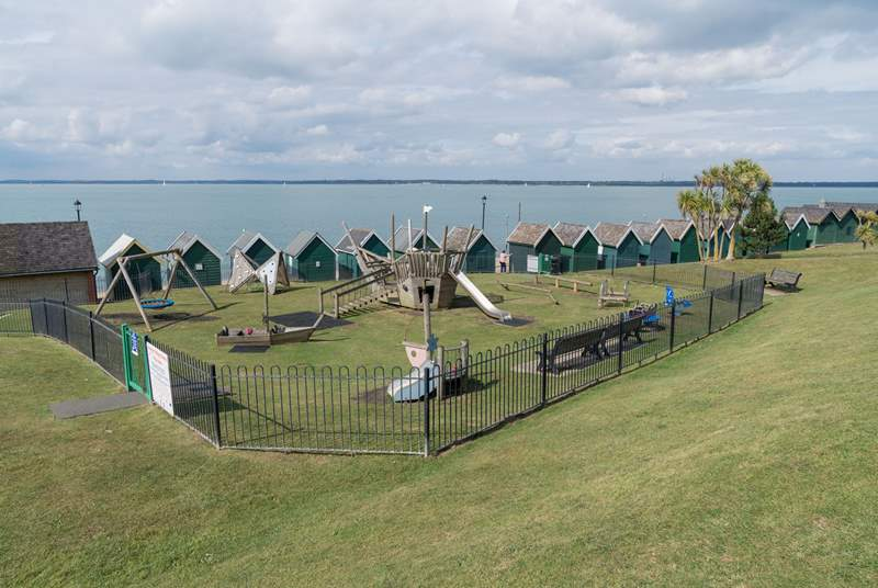 The younger ones will adore the enclosed play area situated on Gurnard Green.