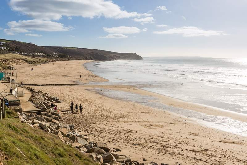 Praa Sands on the south coast is popular with walkers and surfers.