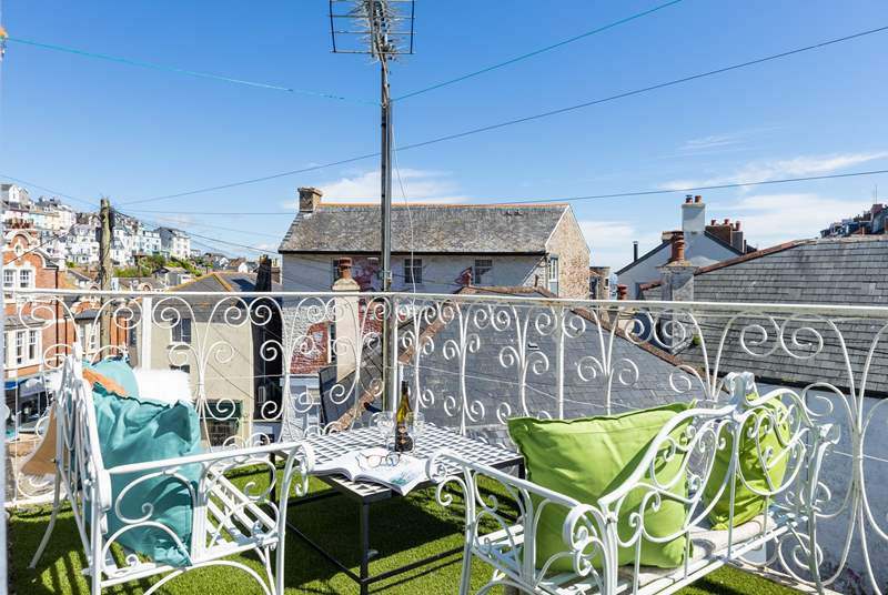 The rooftop terrace gives you a fabulous vantage point over the hustle and bustle of the high street below. You can even see the sea between the shop rooftops.