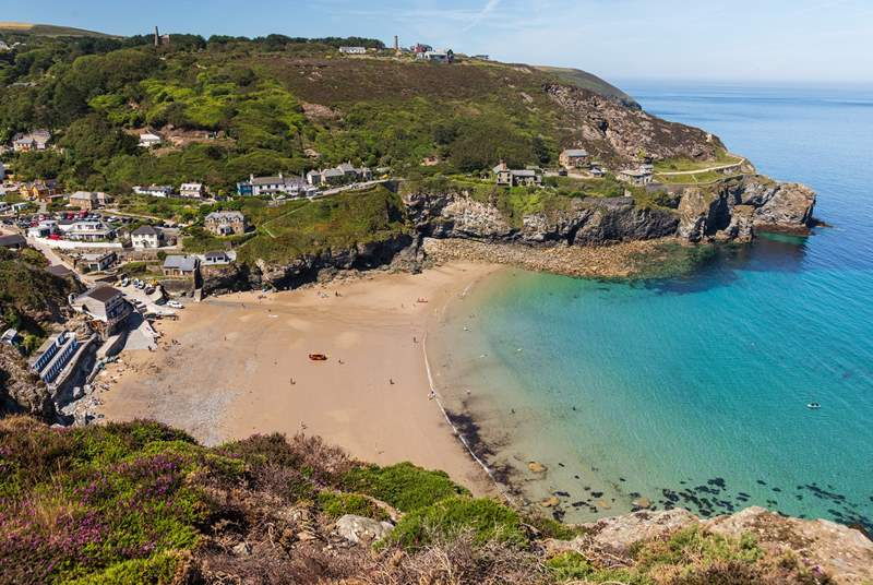 Trevaunance Cove at the bottom of St Agnes, perfect for learning to surf or just having fun in the water.