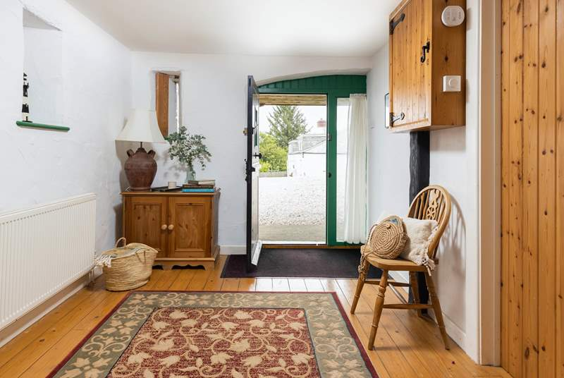 The entrance hall to Butterwell Cottage is a great place to store beach gear and walking boots.