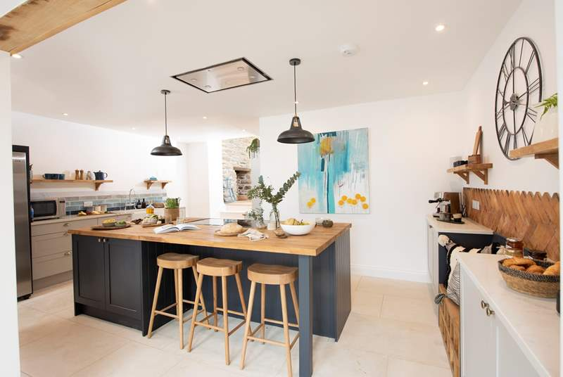 The stylish kitchen is an absolute dream.