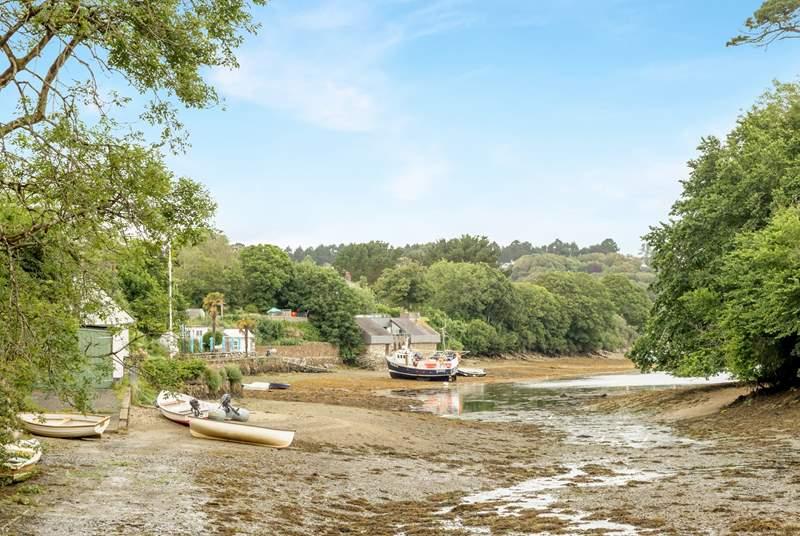 Watch the tide ebb and flow in Helford creek.