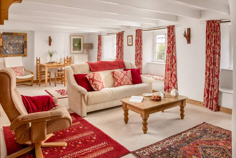 This cottage has plenty of room for four guests, please watch your head on the beams.