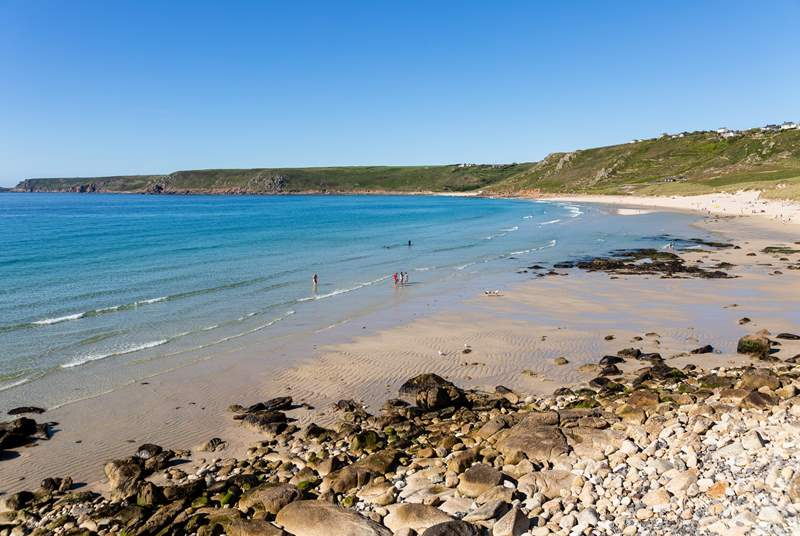 Nearby Sennen Beach, perfect for going for a dip in the sea or learning to surf.