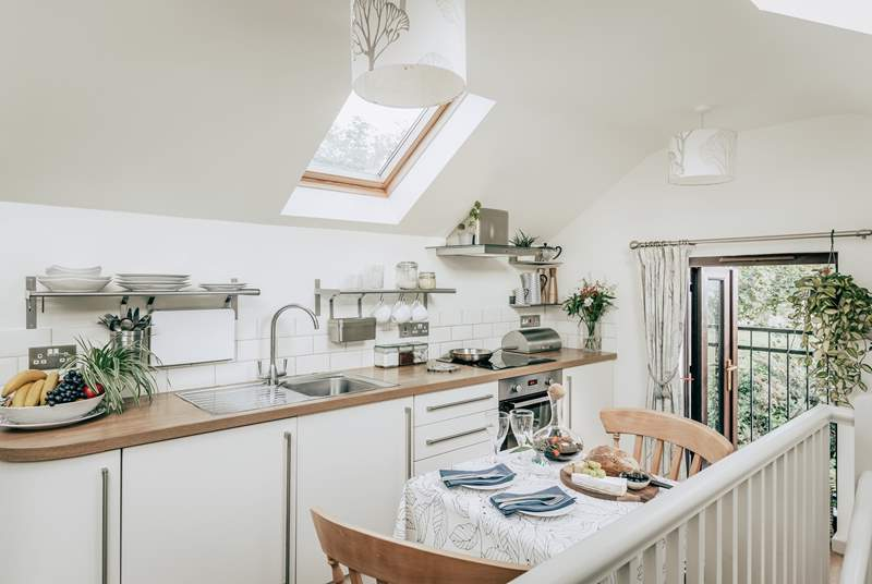 The kitchen is supplied with all you'll need for your Cornish getaway.