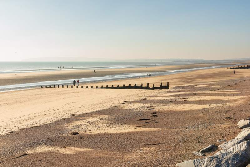 Visit the sandy beach and sand dunes at Camber Sands.