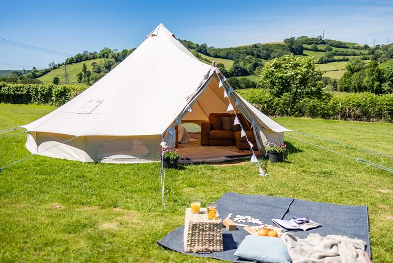 The bell tent offers a beautiful setting set 250 yards through the field from The Loft.